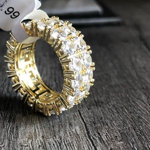Other - Men's Gold Double Layered Iced Out Tennis Ring